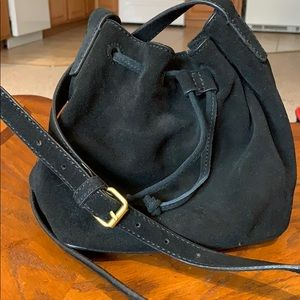 Small, faux leather, black bag (J Crew)